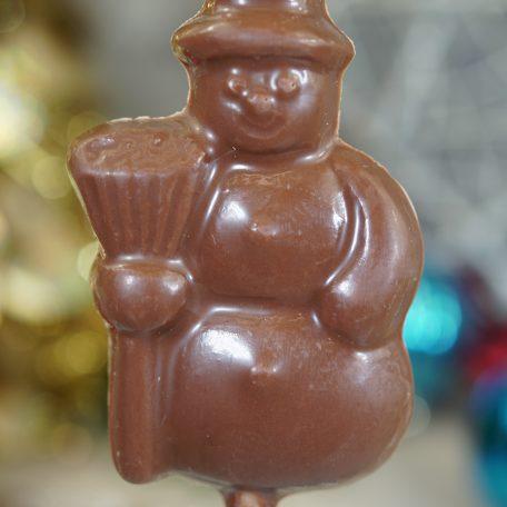 Sweet Spot Chocolate Shop Snowman with Broom Chococolate pop
