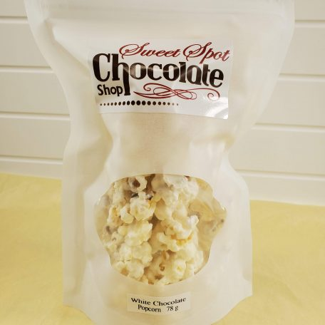 Sweet Spot Chocolate Shop White Chocolate covered Popcorn with Sea Salt